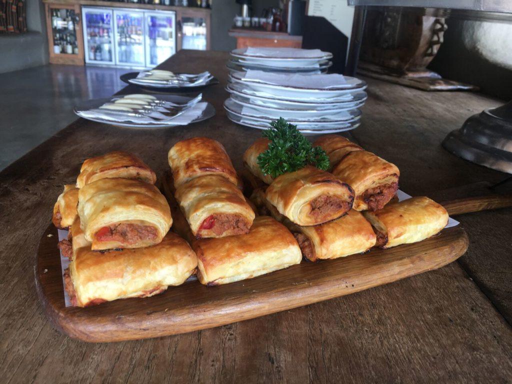 Sausage rolls at Afternooon Tea Garonga Safari Camp